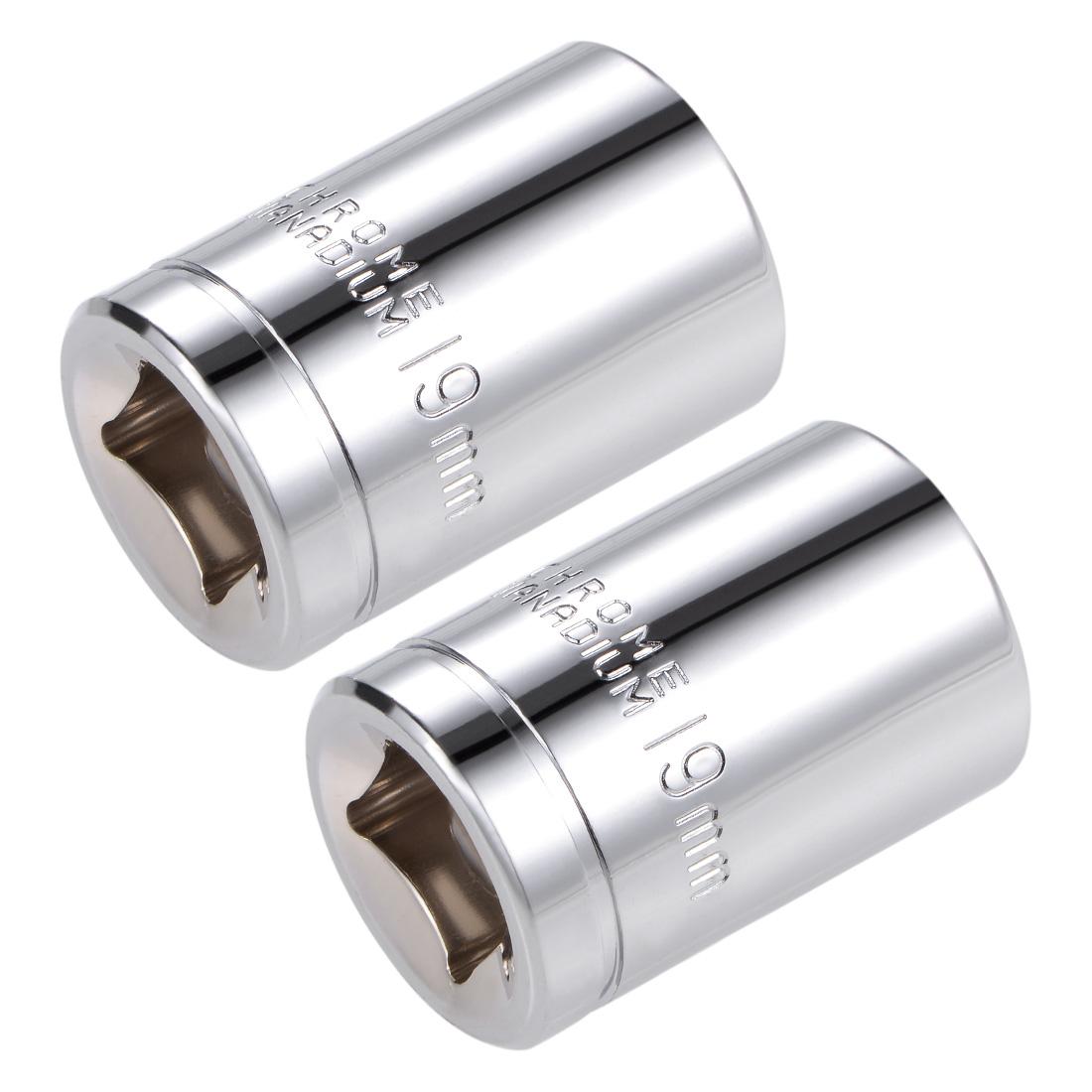 1/2-inch Drive E19 Universal Spline Socket Shallow 12 Point Cr-V Steel 2 Pcs