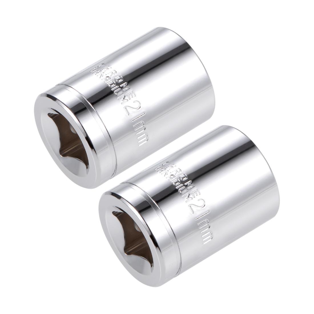 1/2-inch Drive E21 Universal Spline Socket Shallow 12 Point Cr-V Steel 2pcs