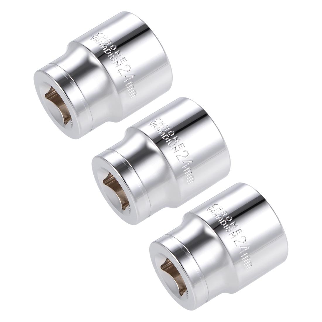 1/2-inch Drive E24 Universal Spline Socket Shallow 12 Point Cr-V Steel 3 pcs