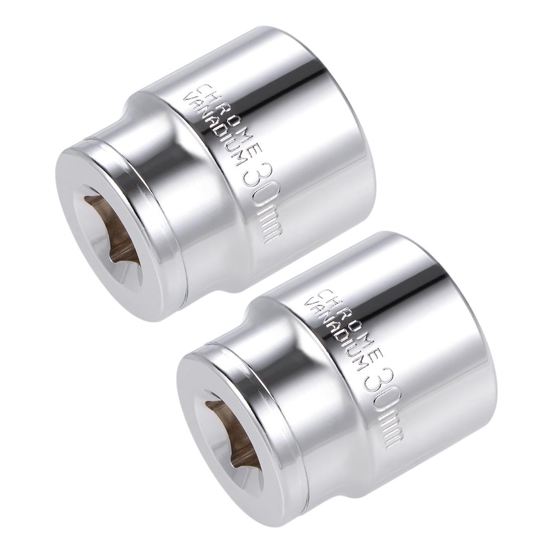 1/2-inch Drive E30 Universal Spline Socket Shallow 12 Point Cr-V Steel 2 pcs