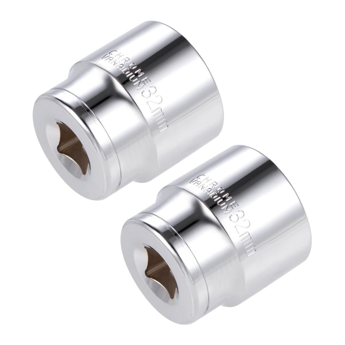 1/2-inch Drive E32 Universal Spline Socket Shallow 12 Point Cr-V Steel 2 pcs