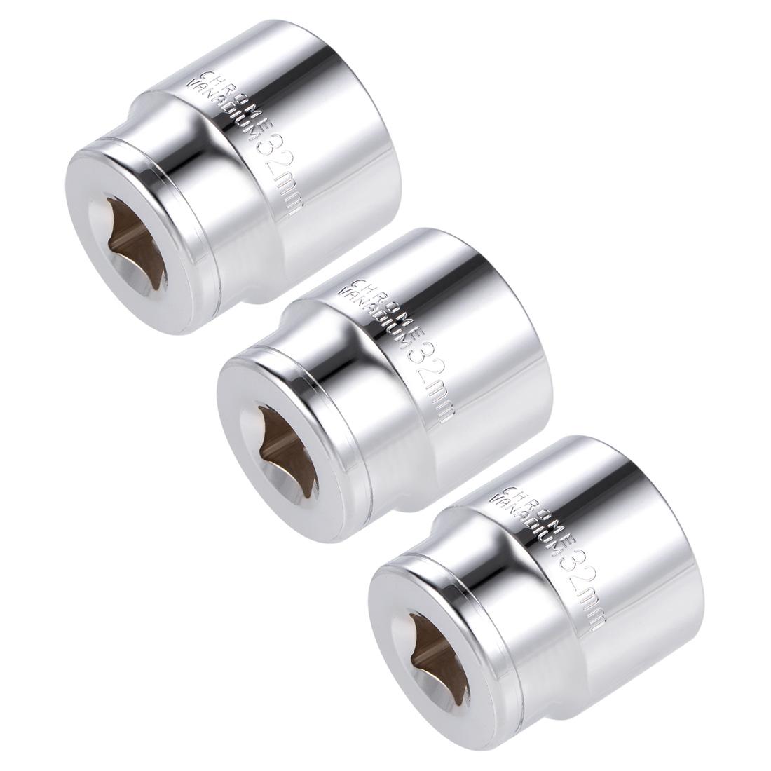 1/2-inch Drive E32 Universal Spline Socket Shallow 12 Point Cr-V Steel 3 pcs