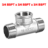 Stainless Steel 304 Pipe Fitting 3/4 BSPT Malex3/4BSPT Female T Shaped Connector