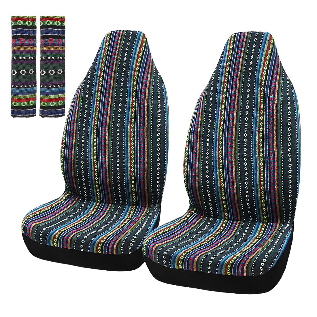 2 Pcs Universal Front Seat Cover Saddle Blanket Seat-Belt Pad Protectors for Car
