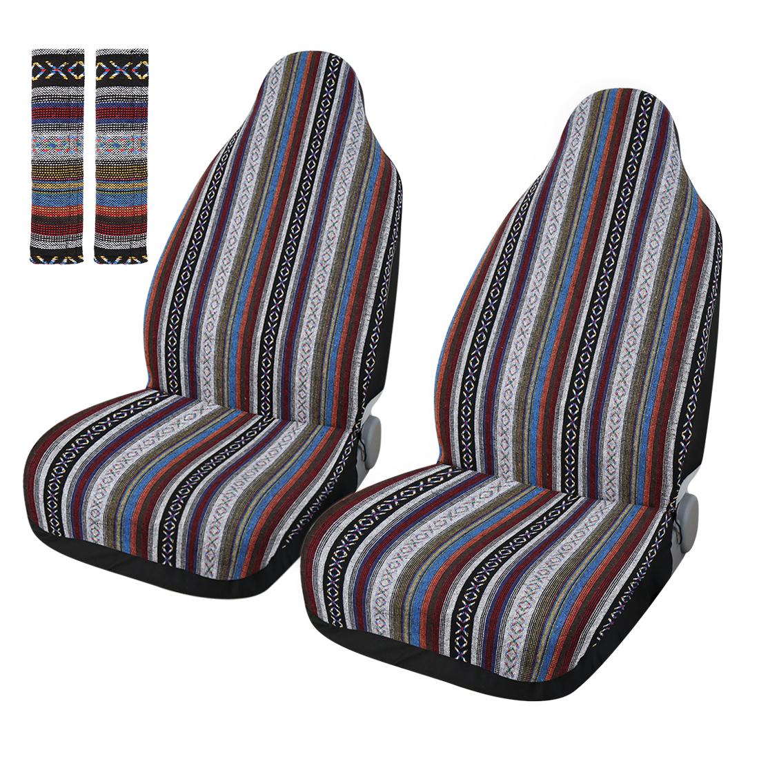 2 Pcs Universal Car Front Seat Cover Saddle Blanket Seat-Belt Pad Protectors