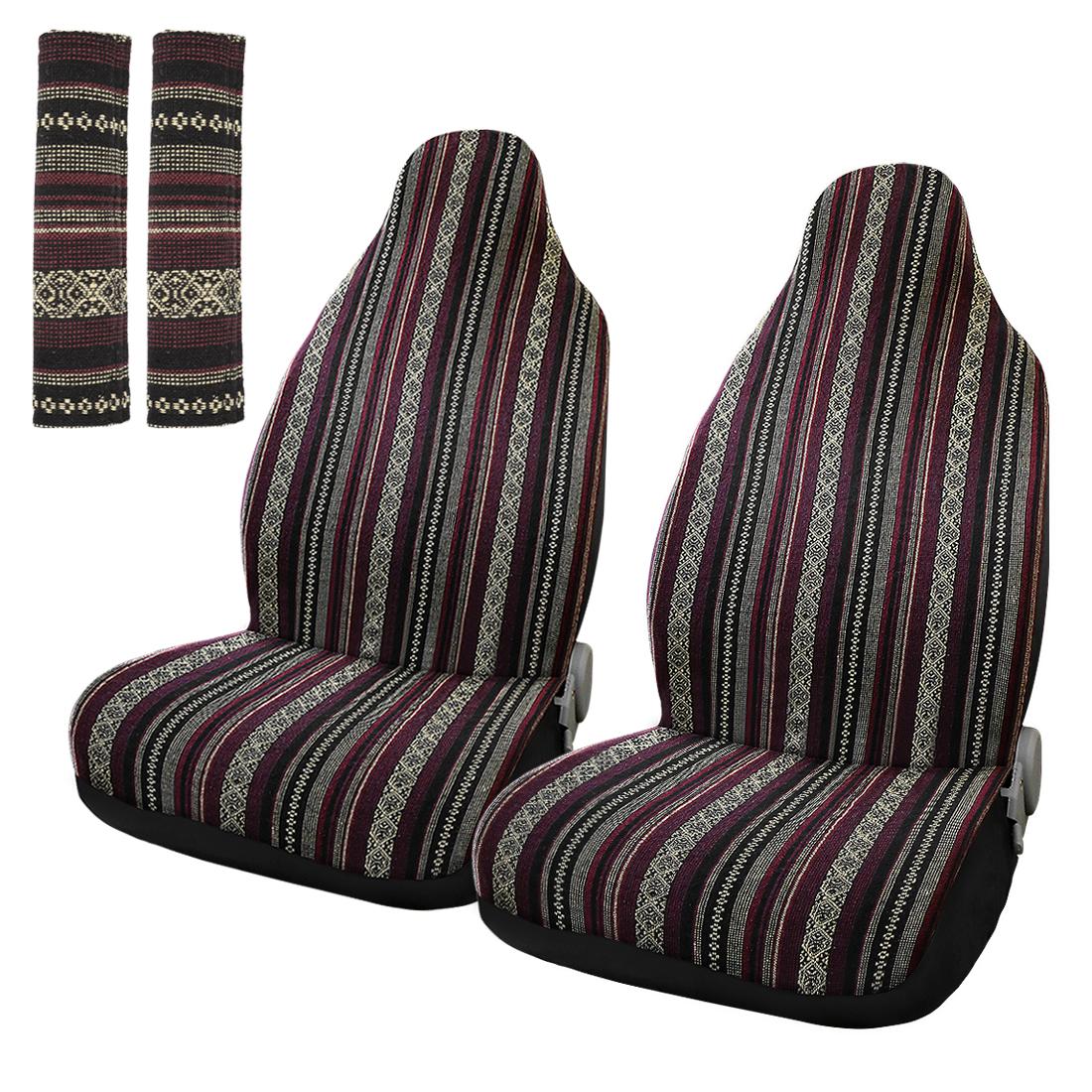 Universal Car Front Seat Cover Saddle Blanket Seat-Belt Pad Protectors 2pcs