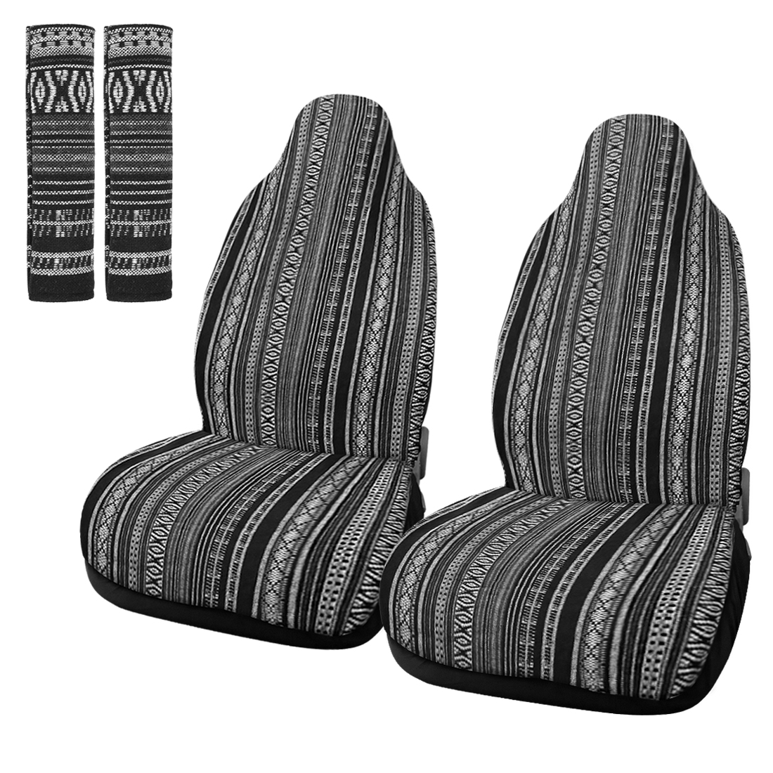 Universal Front Seat Cover Saddle Blanket Seat-Belt Pad Protectors for Car 2pcs