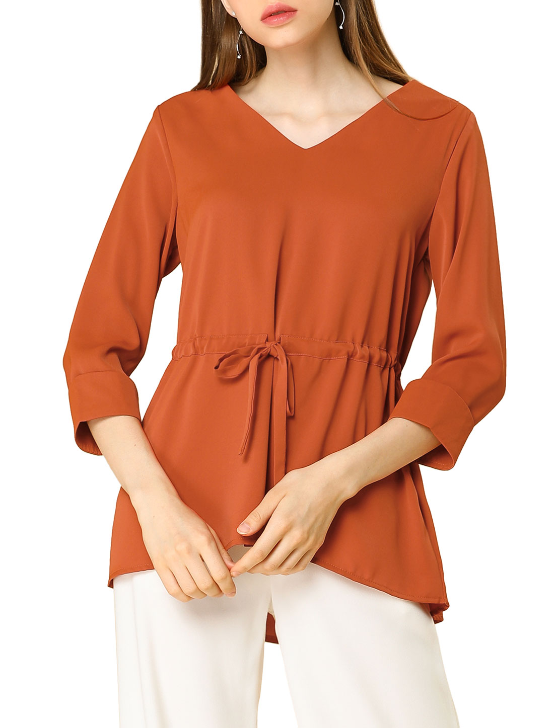 Allegra K Women's 3/4 Sleeves V Neck Peplum Top Blouse Orange XS