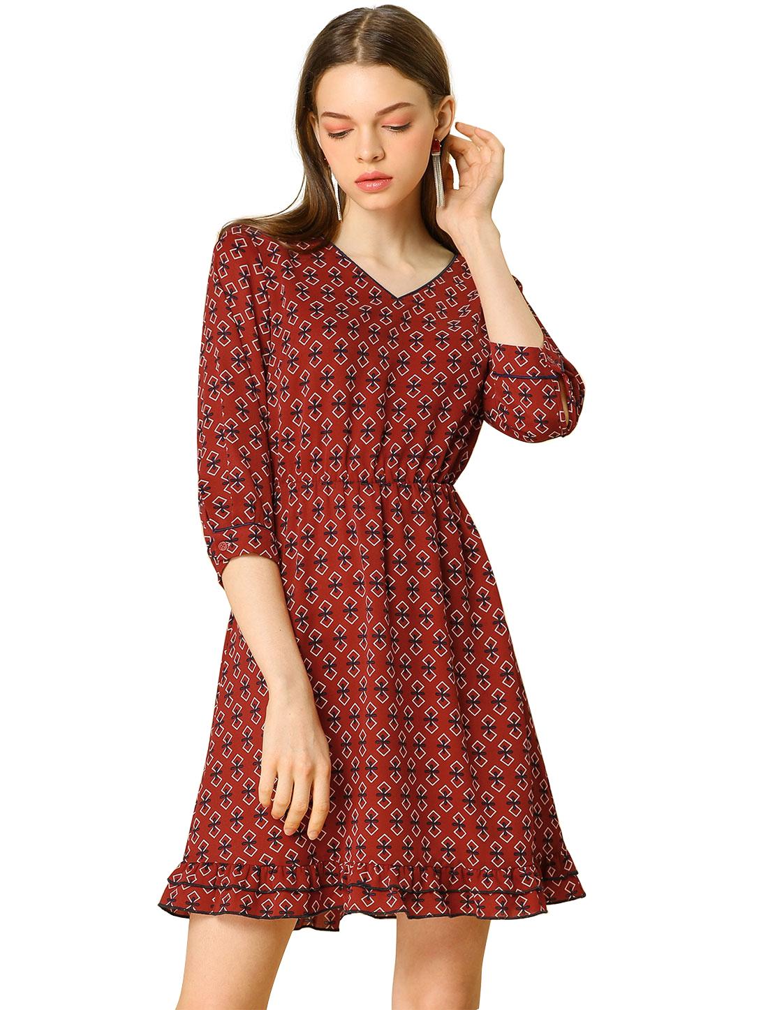Women's 3/4 Sleeve V Neck Ruffle Hem Geometric Motifs Flare Chiffon Dress Red XS