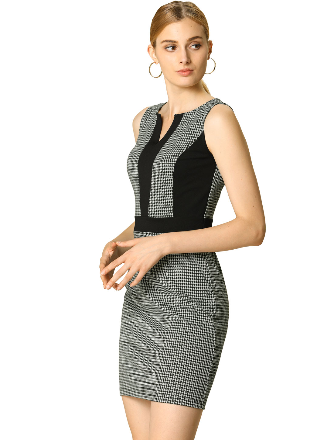 Allegra K Women's Sleeveless Houndstooth Business Dress Black/White XL