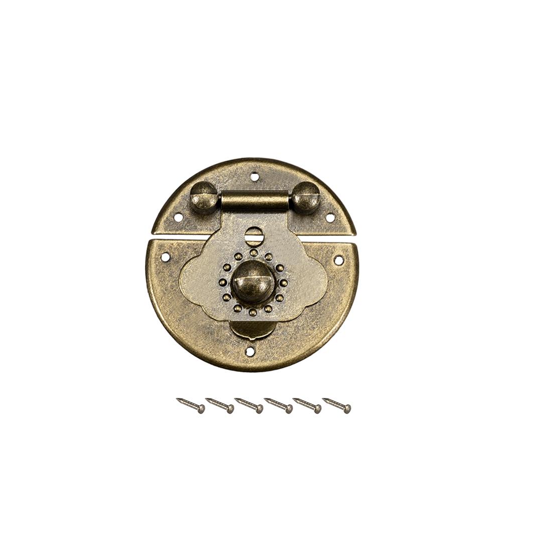 Wood Case Box Round Hasp 41x10.5mm Closure Antique Latches Bronze Tone, 4 Pcs