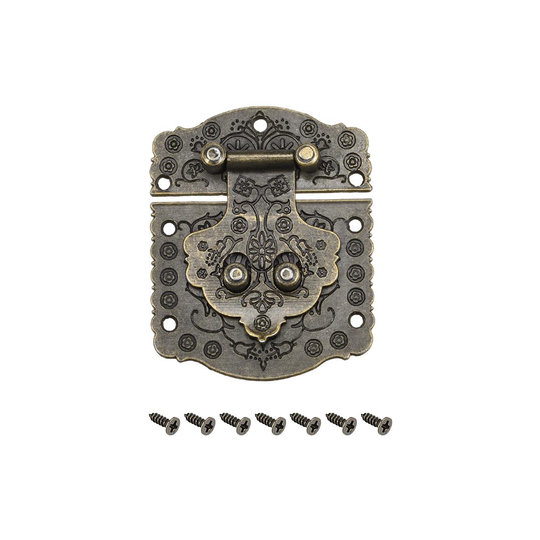Wood Case Box Rectangle Hasp 73x60mm Antique Latches Hook Bronze Tone, 5 Pcs