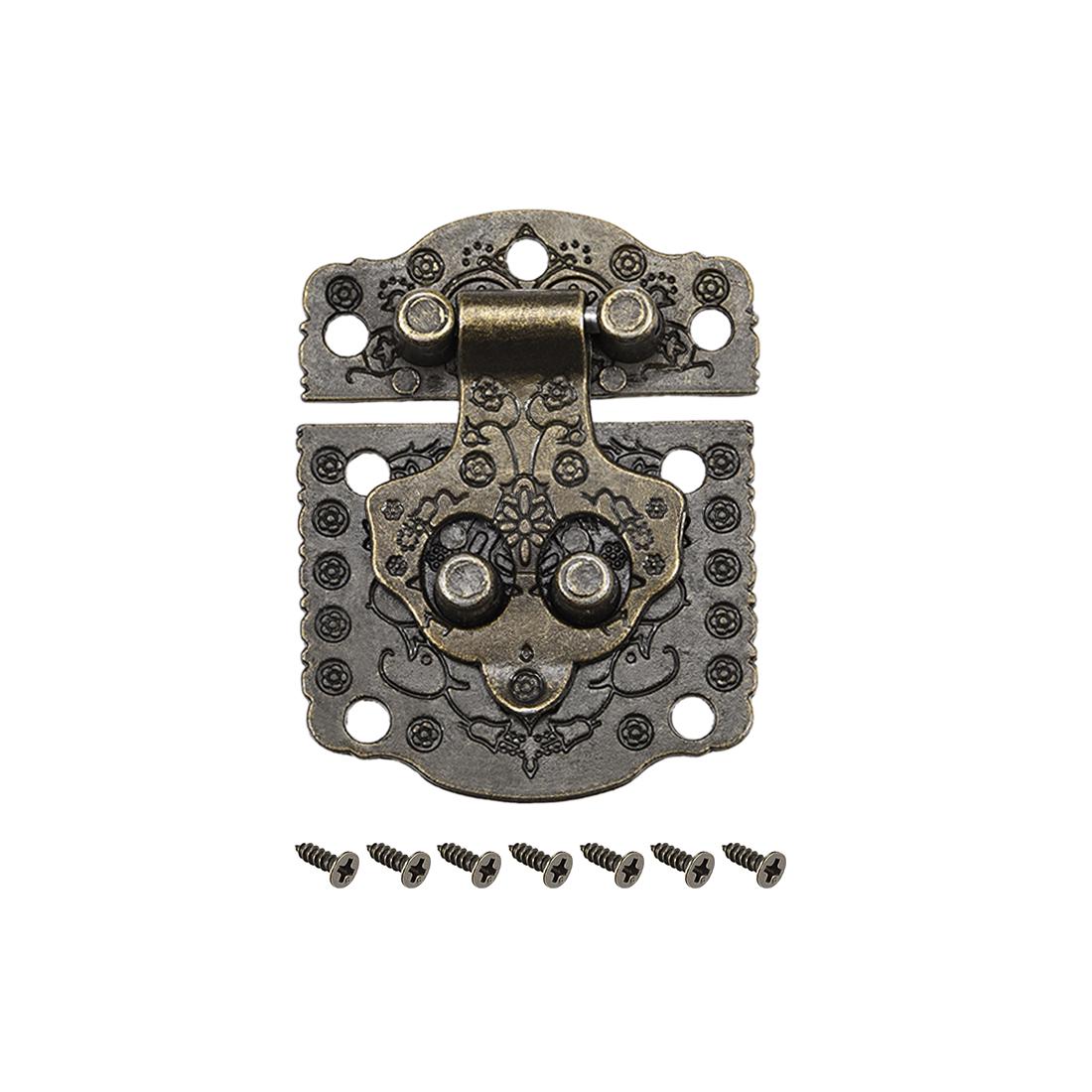 Wood Case Box Rectangle Hasp 50x40mm Antique Latches Hook Bronze Tone, 5 Pcs
