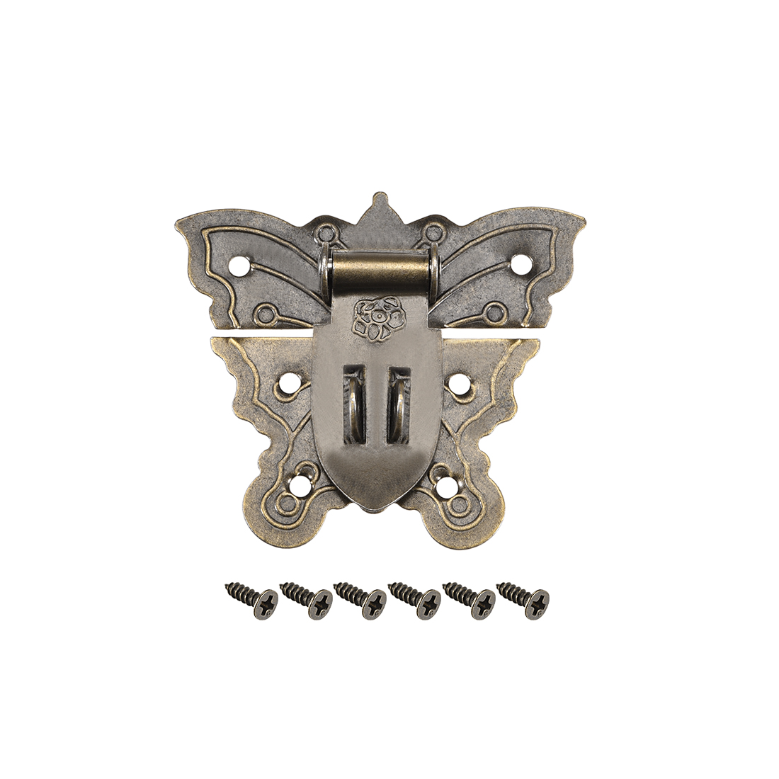Wood Case Box Butterfly Hasp 60x51mm Antique Latches Hook Bronze Tone