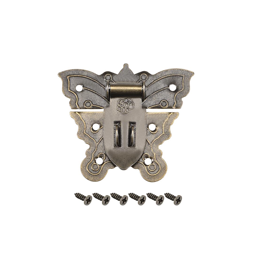 Wood Case Box Butterfly Hasp 60x51mm Antique Latches Hook Bronze Tone, 3 Pcs