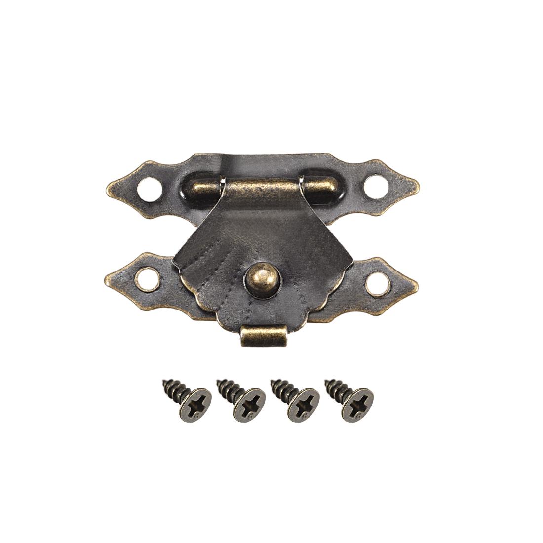 Wood Case Box Hasp 29x19mm Antique Latches Hook Bronze Tone, 10 Pcs