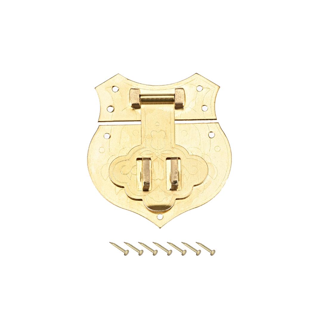 Wood Case Box Hasp 40x43mm Closure Brass Antique Latches Yellow