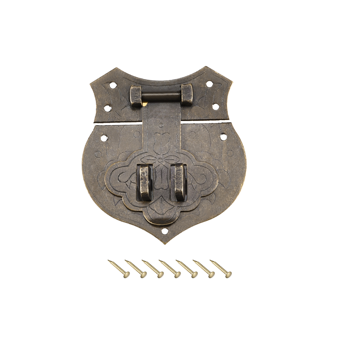 Wood Case Box Hasp 40x43mm Closure Brass Antique Latches Bronze Tone, 2 Pcs