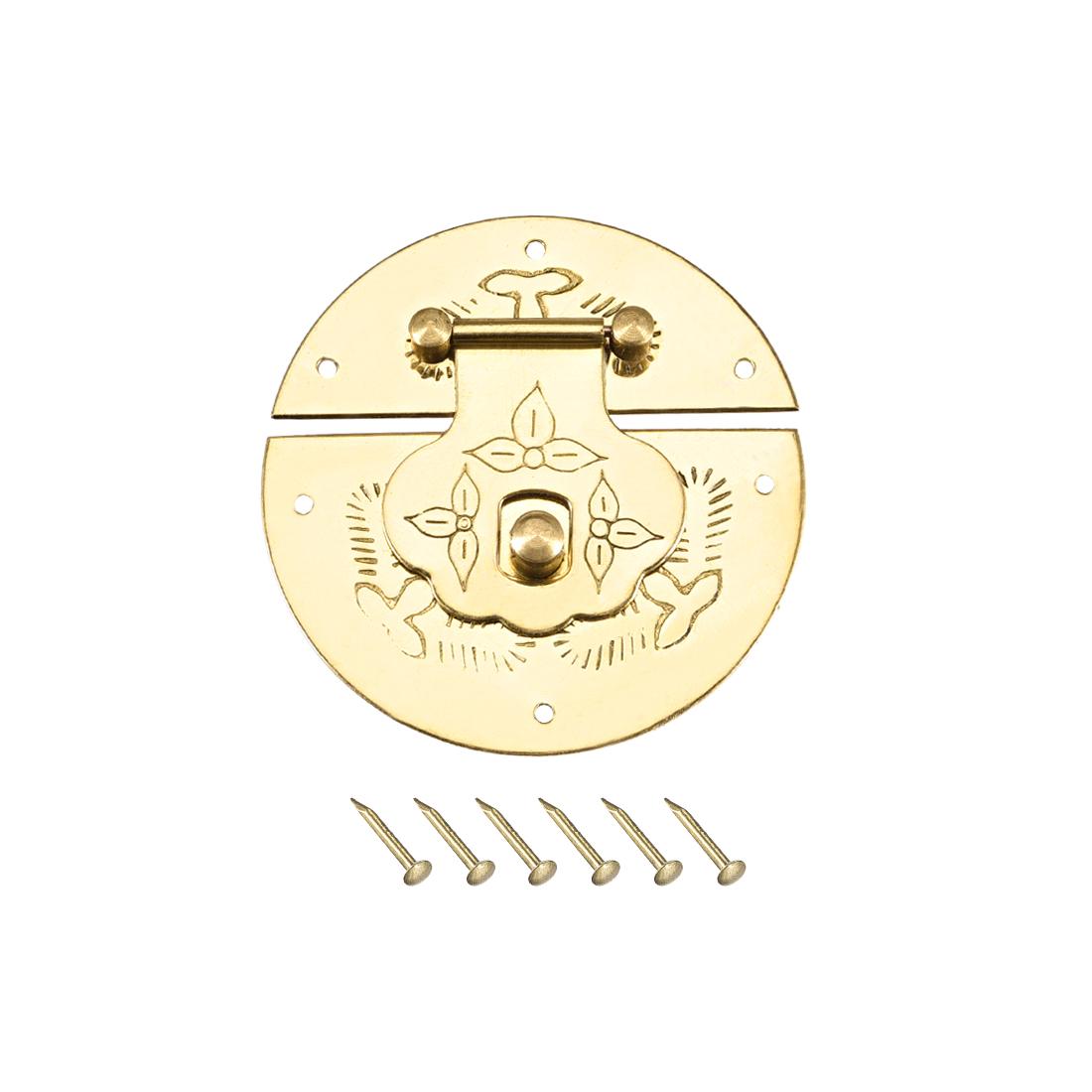 Wood Case Box Round Hasp 51x8.5mm Closure Brass Antique Latches Yellow, 2 Pcs