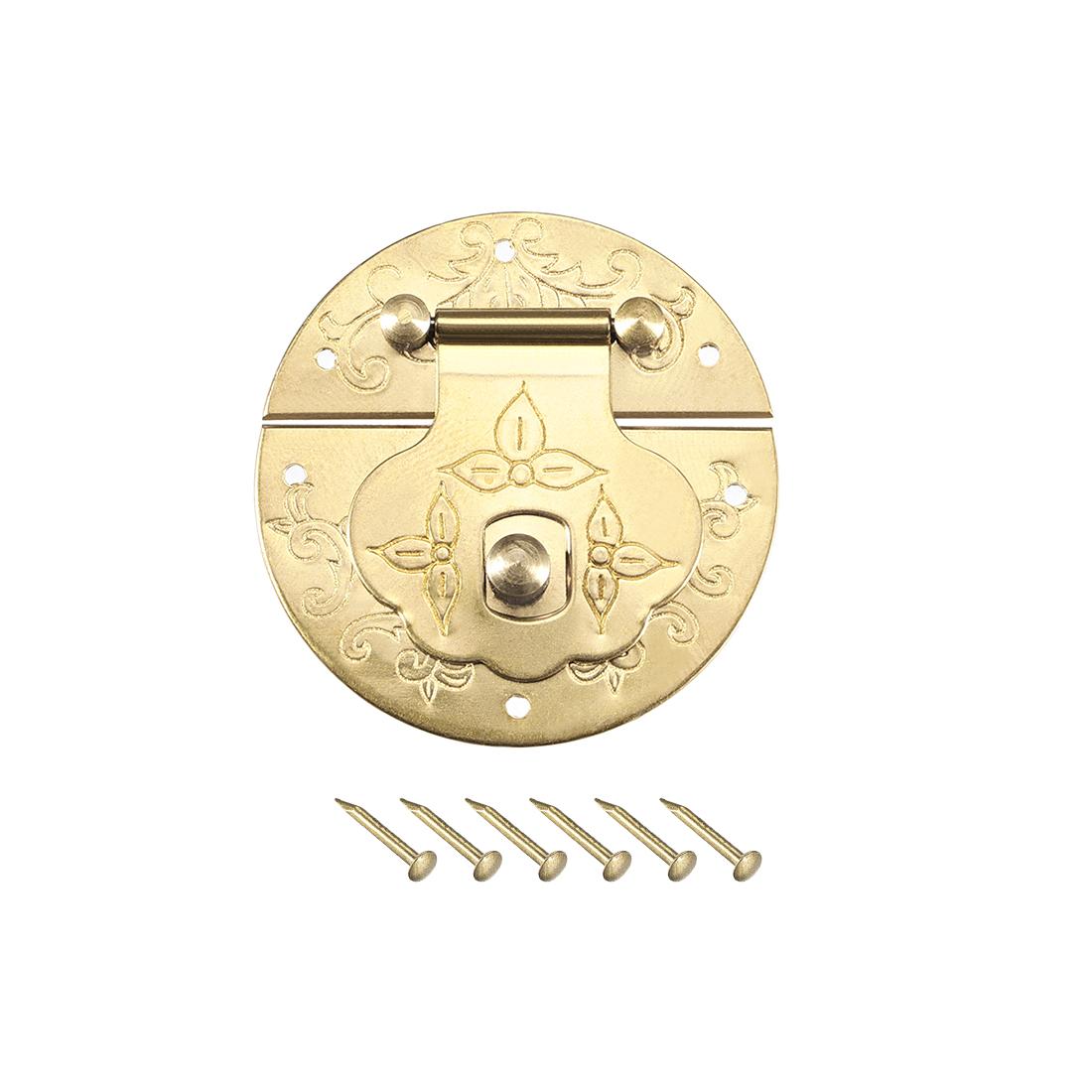 Wood Case Box Round Hasp 42x8.5mm Closure Brass Antique Latches Yellow, 2 Pcs