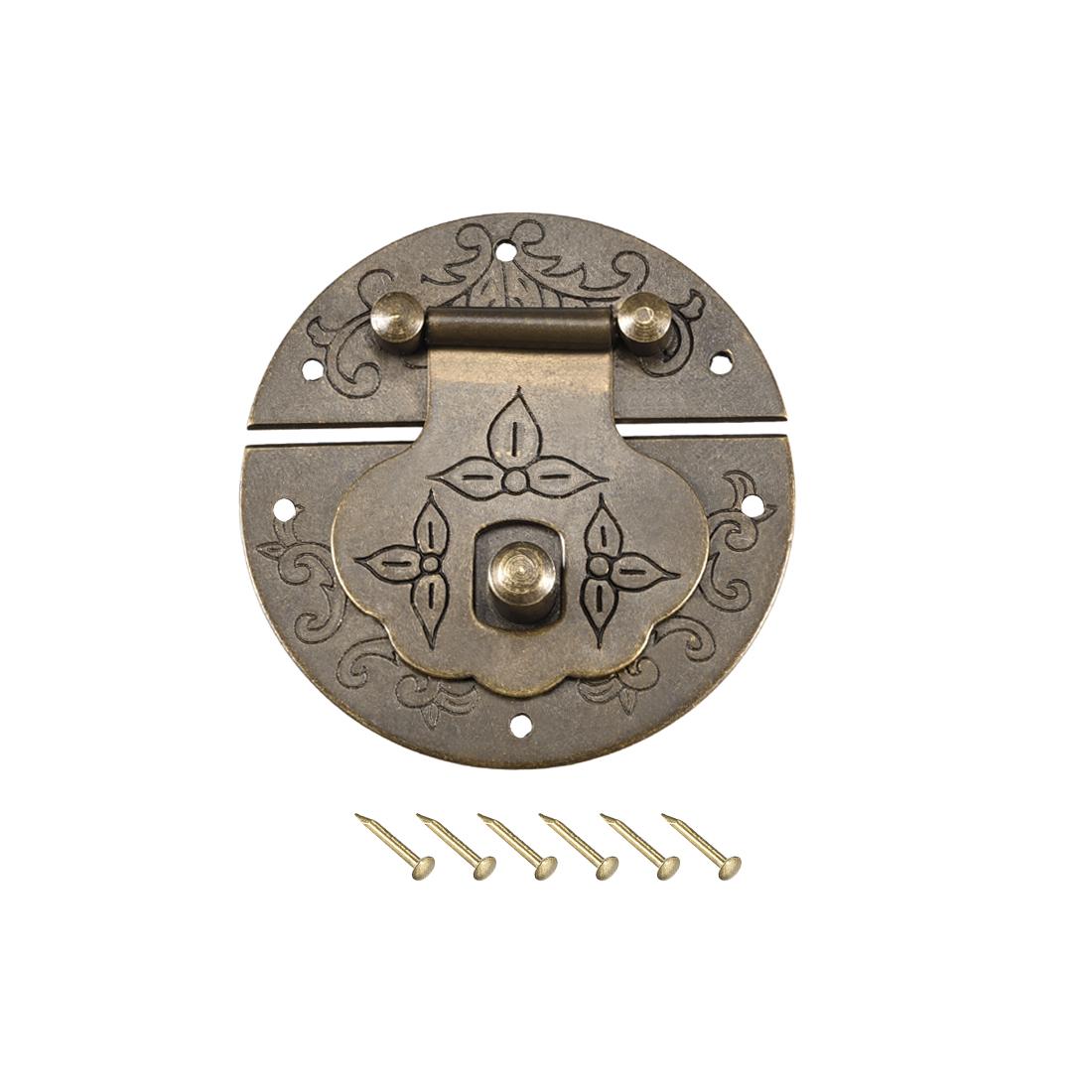 Wood Case Box Round Hasp 42x8.5mm Closure Brass Antique Latches Bronze Tone