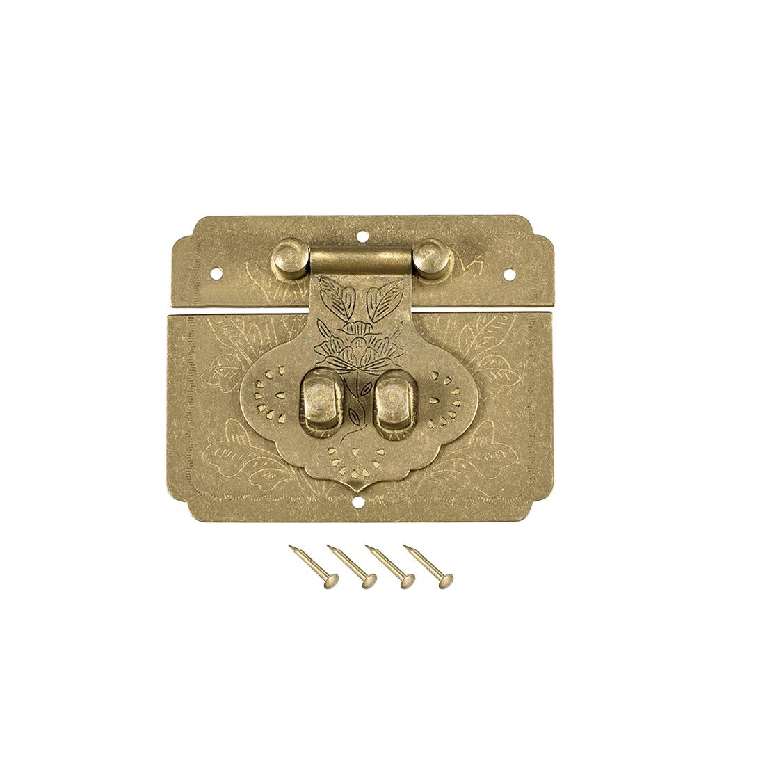 Wood Case Box Rectangle Hasp 65x52mm Closure Brass Antique Latches Bronze Tone