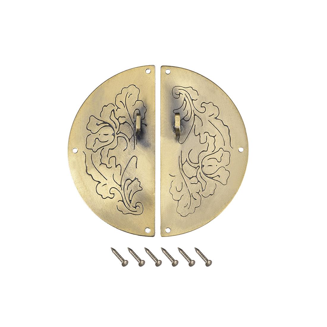 Wood Case Box Round Hasp 75x11mm Closure Antique Latches Bronze Tone, 3 Pcs