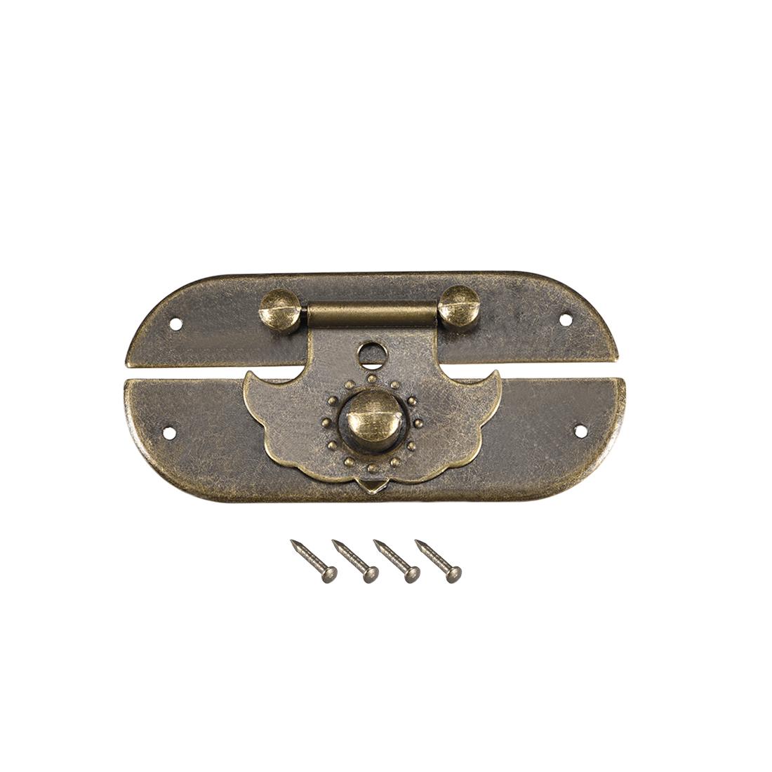 Wood Case Box Hasp 66x30mm Closure Antique Latches Bronze Tone