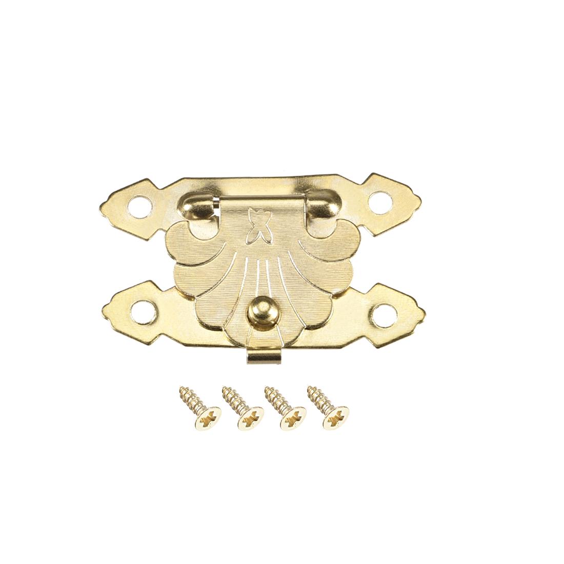 Wood Case Box Rectangle Hasp 38x23mm Zinc Alloy Antique Latches Yellow, 10 Pcs