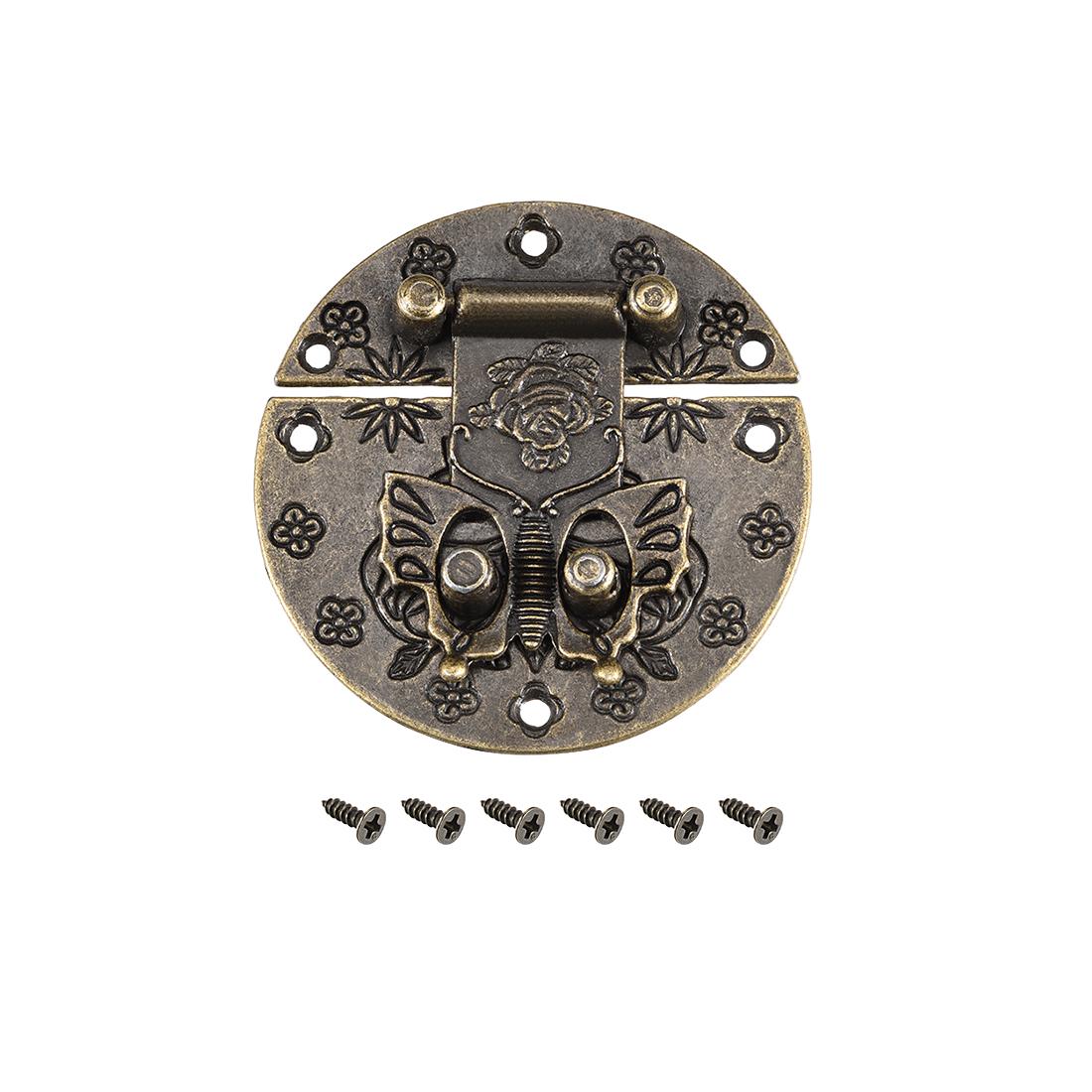 Wood Case Box Round Hasp 58x10.5mm Zinc Alloy Antique Latches Bronze Tone, 5 Pcs
