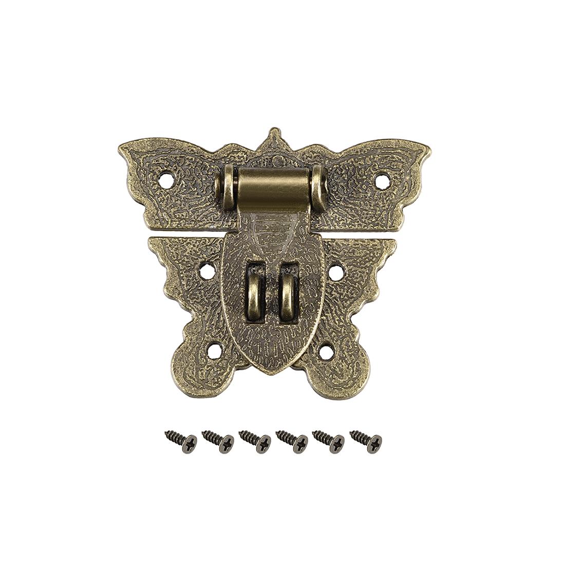 Wood Case Box Butterfly Hasp 59x52mm Zinc Alloy Antique Latches Bronze Tone