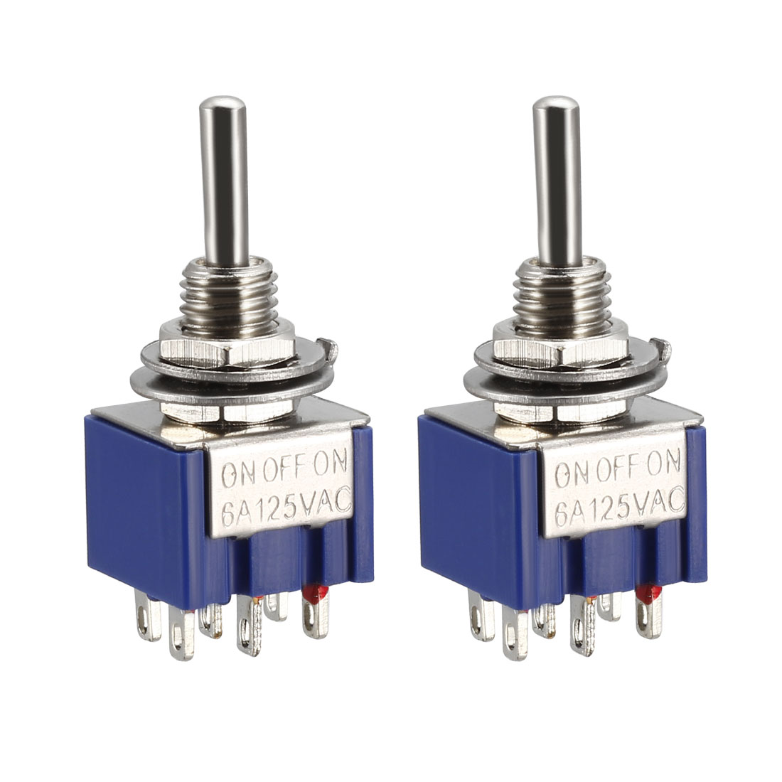 Guitar Latching Toggle Switch DPDT 3 Position 6P ON OFF ON Boat Switch Bule 2pcs