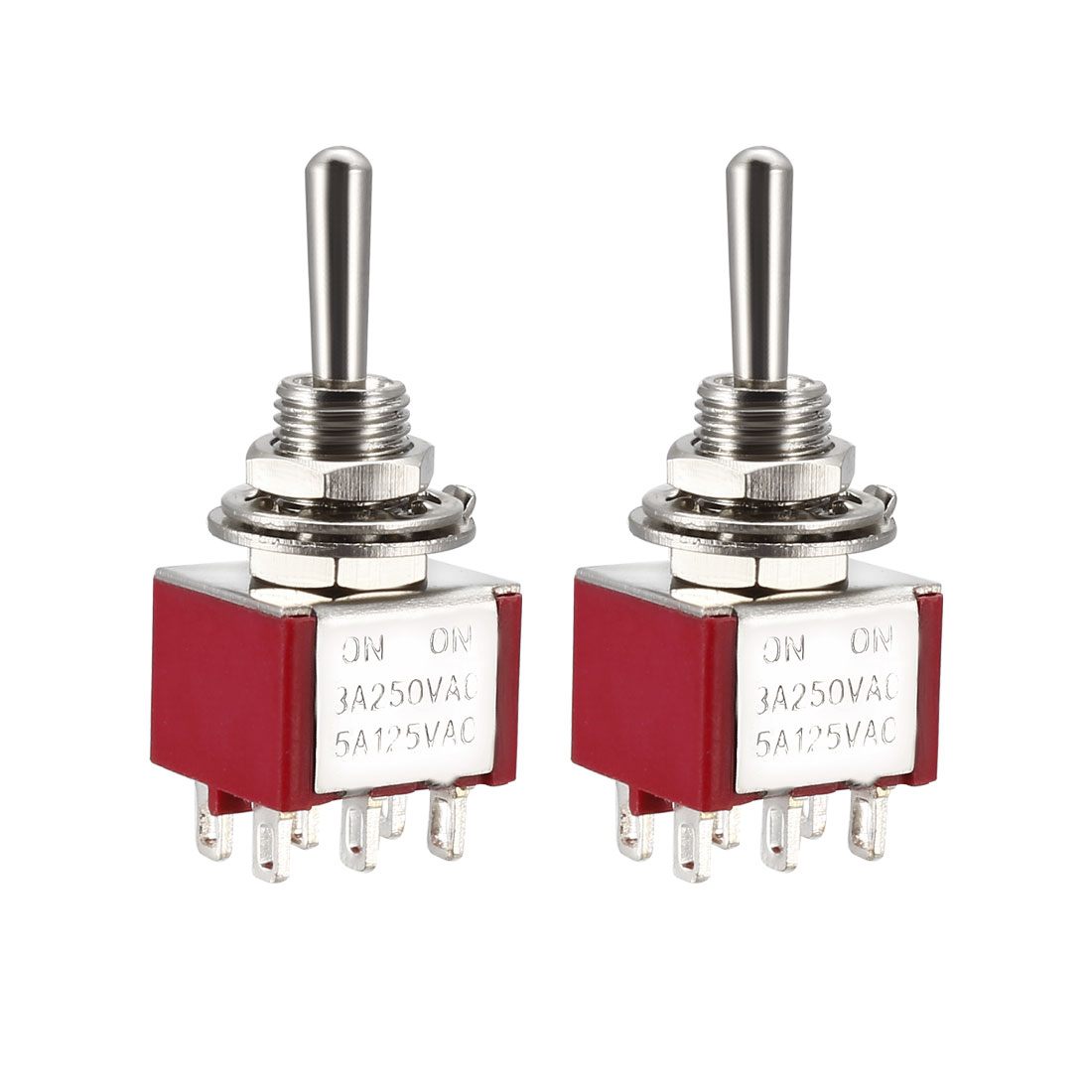 Guitar Latching Toggle Switch DPDT 2 Position 6 Pin ON ON Boat Switches Red 2pcs