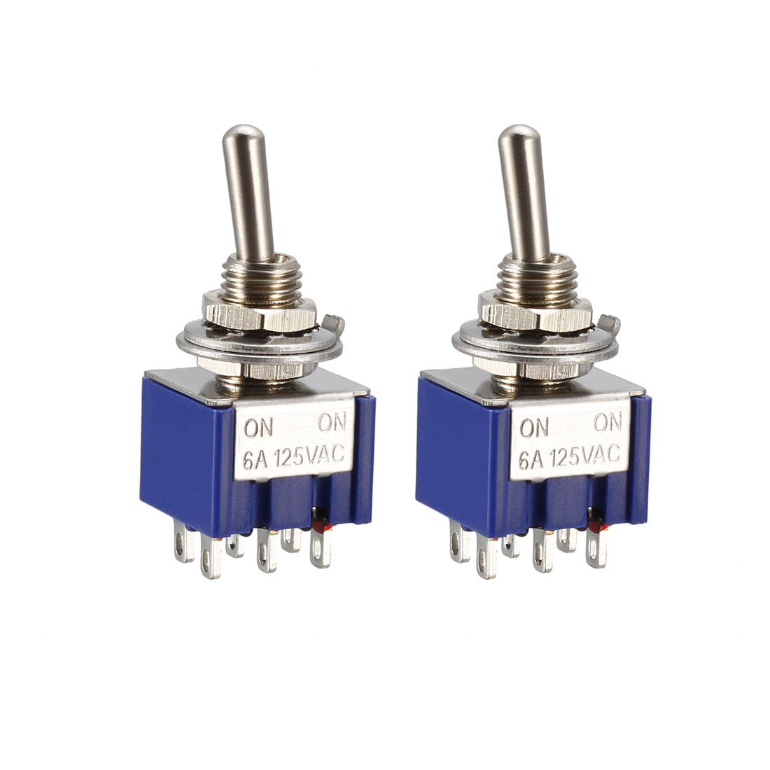 Guitar Latching Toggle Switch DPDT 2 Position 6Pin ON ON Boat Switches Bule 2pcs