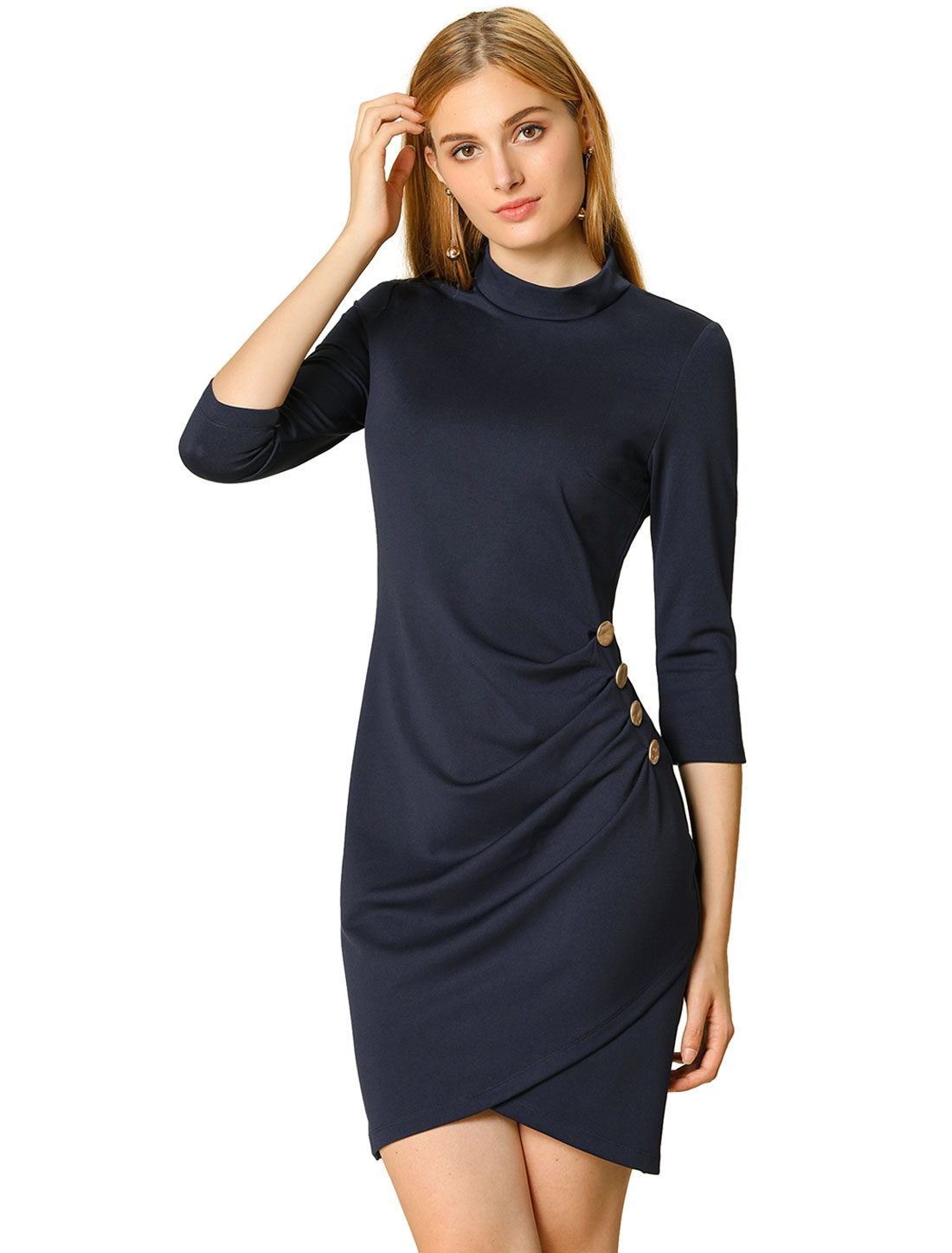 Women's Work 3/4 Sleeve Ruched Stretchy Bodycon Short Dress Navy blue L