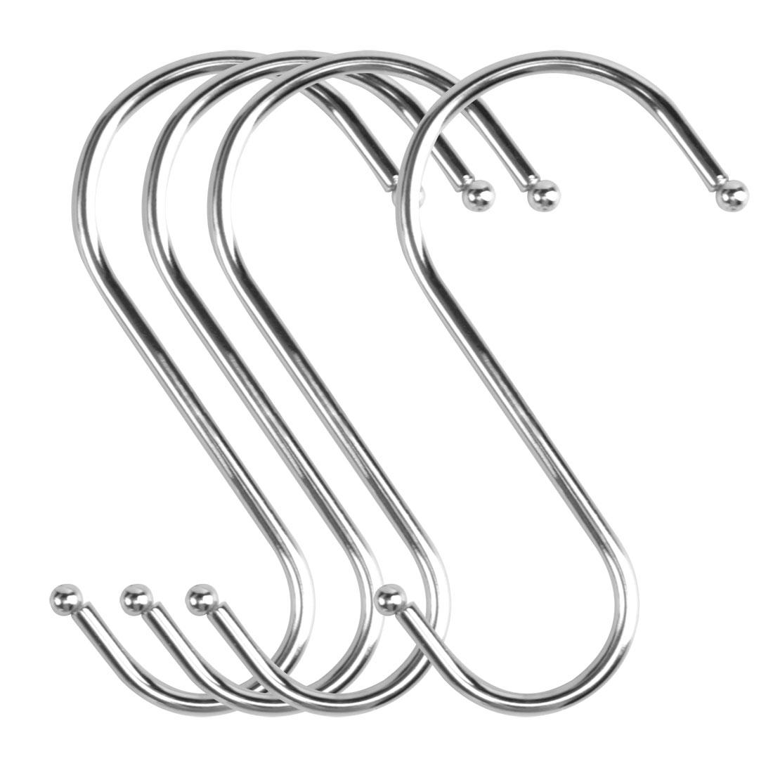 4pcs S Shaped Hook Stainless Steel for Kitchen Hat Utensil Pot Holder