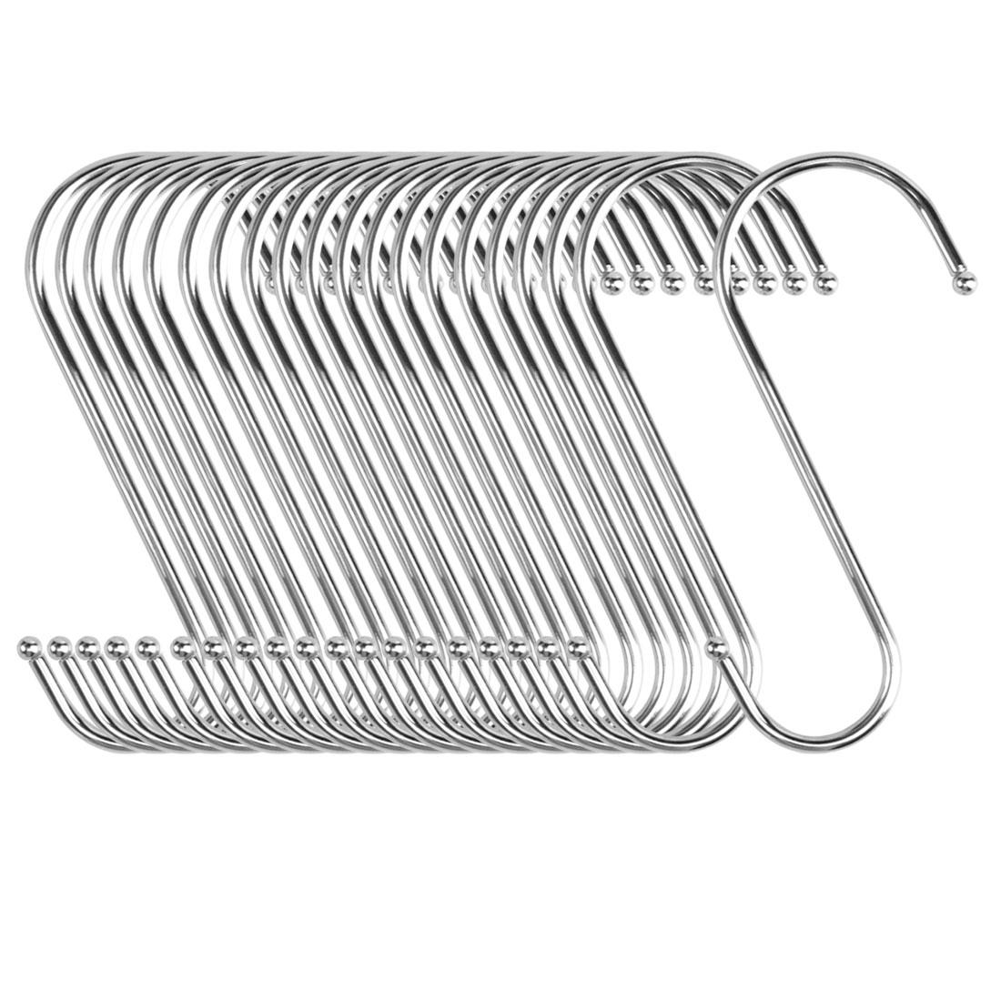 20pcs S Shaped Hook Stainless Steel Kitchenware Hat Utensil Pot Holder