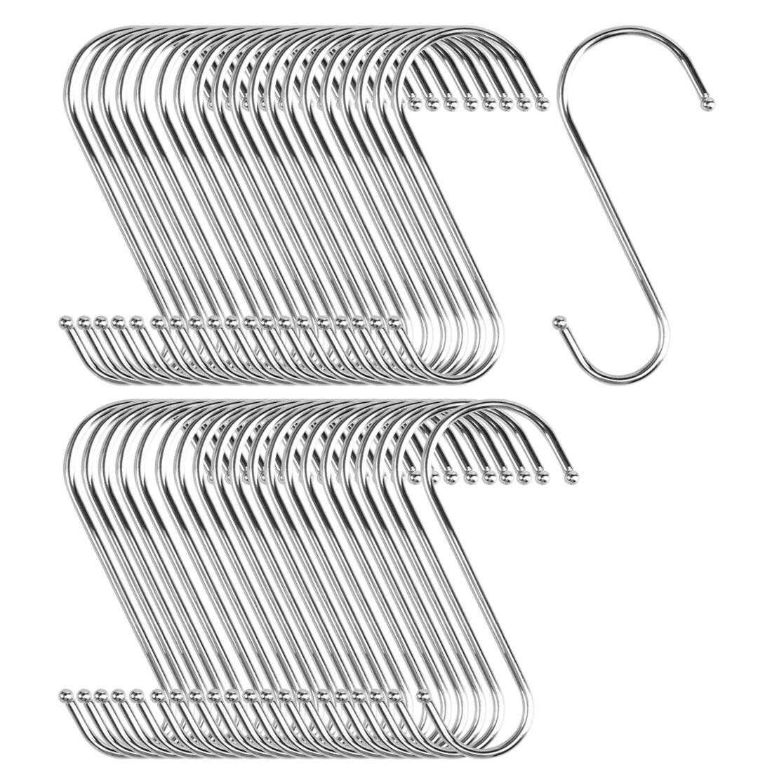 40pcs S Shaped Hook Stainless Steel Kitchenware Hat Utensil Pot Holder