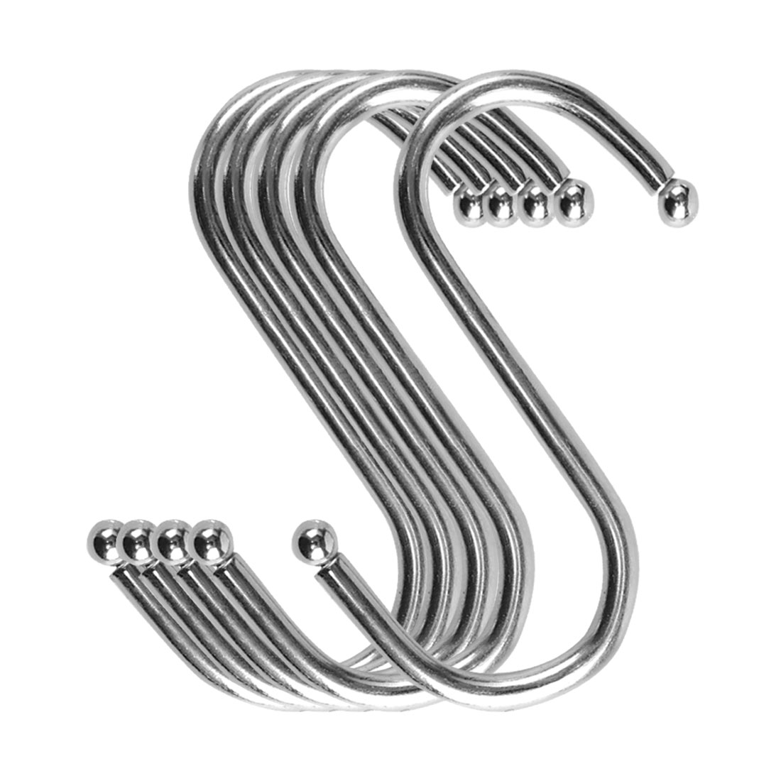 S Shape Hook Rack Stainless Steel for Kitchenware Clothes Towels Holder 5 Pack