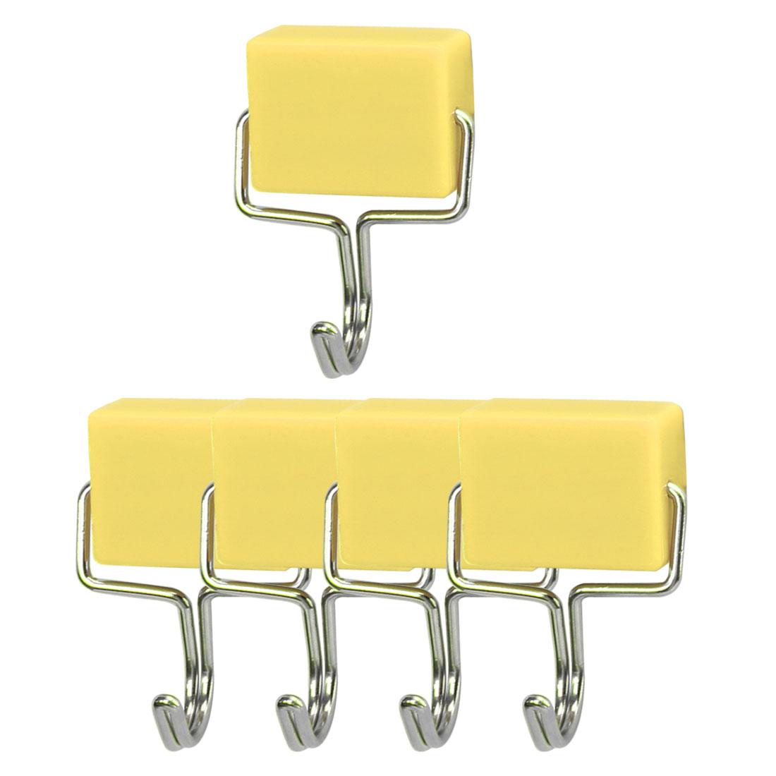 5pcs Magnetic Hook Stainless Steel Wall Hooks Hanger for Coat Hat Holder Yellow