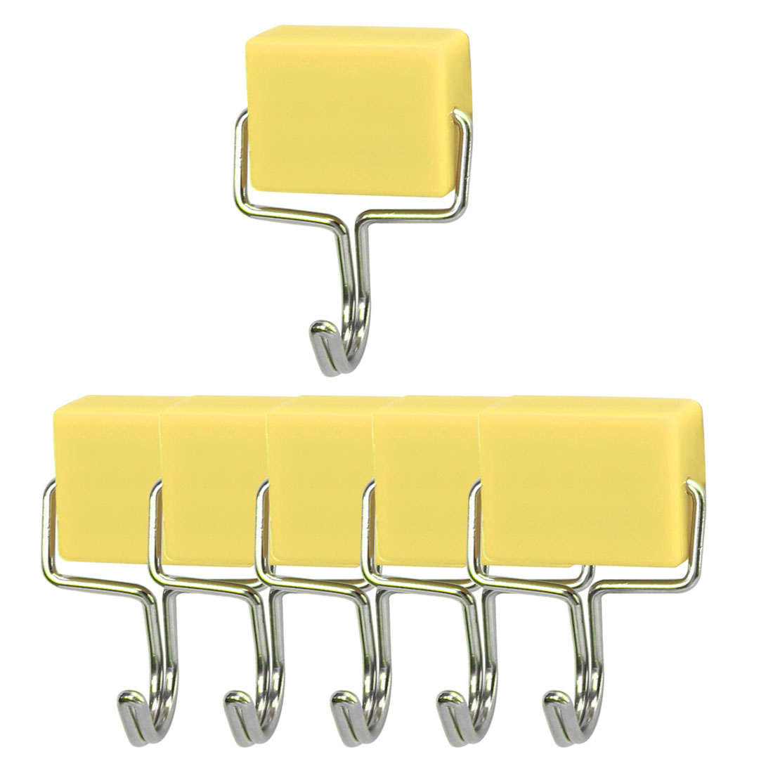 6pcs Magnetic Hook Stainless Steel Wall Hooks Hanger for Coat Hat Holder Yellow