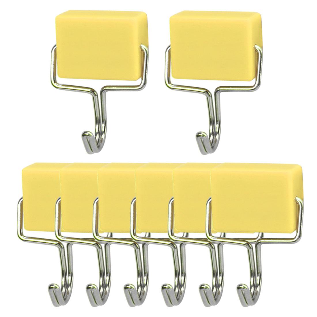 8pcs Magnetic Hook Stainless Steel Wall Hooks Hanger for Coat Hat Holder Yellow
