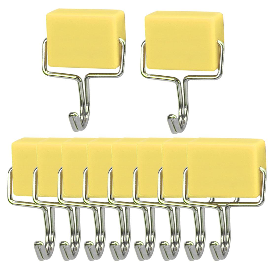 10pcs Magnetic Hook Stainless Steel Wall Hooks Hanger for Coat Hat Holder Yellow