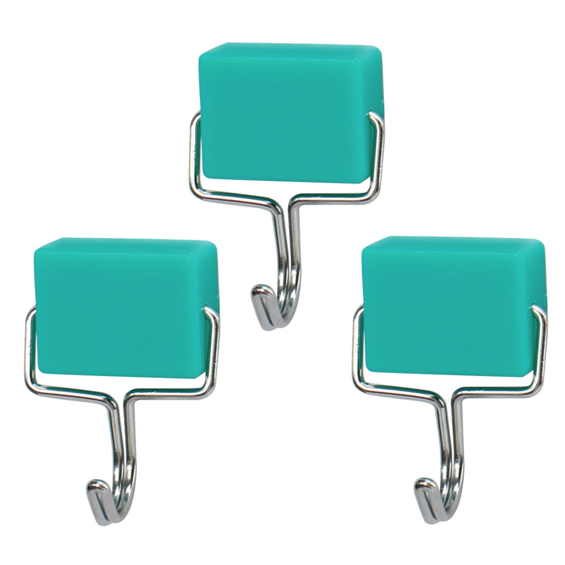 3pcs Magnetic Hook Stainless Steel Wall Hooks Hanger for Coat Hat Holder Green