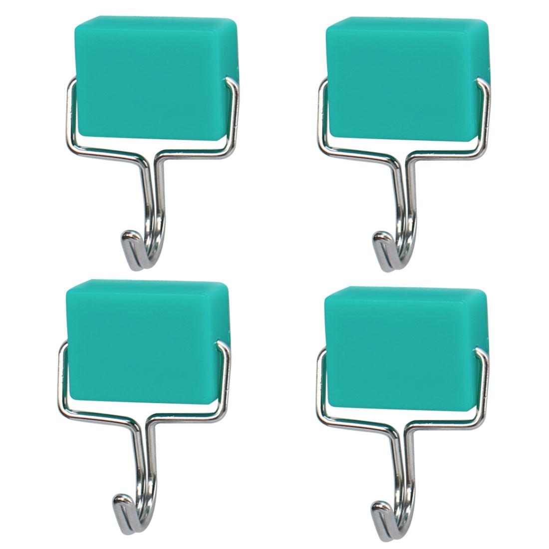 4pcs Magnetic Hook Stainless Steel Wall Hooks Hanger for Coat Hat Holder Green