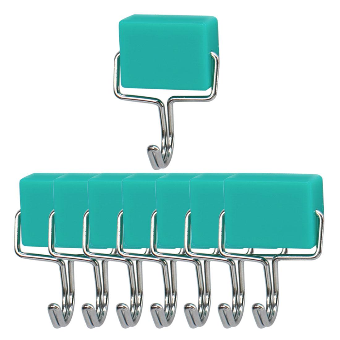 8pcs Magnetic Hook Stainless Steel Wall Hooks Hanger for Coat Hat Holder Green