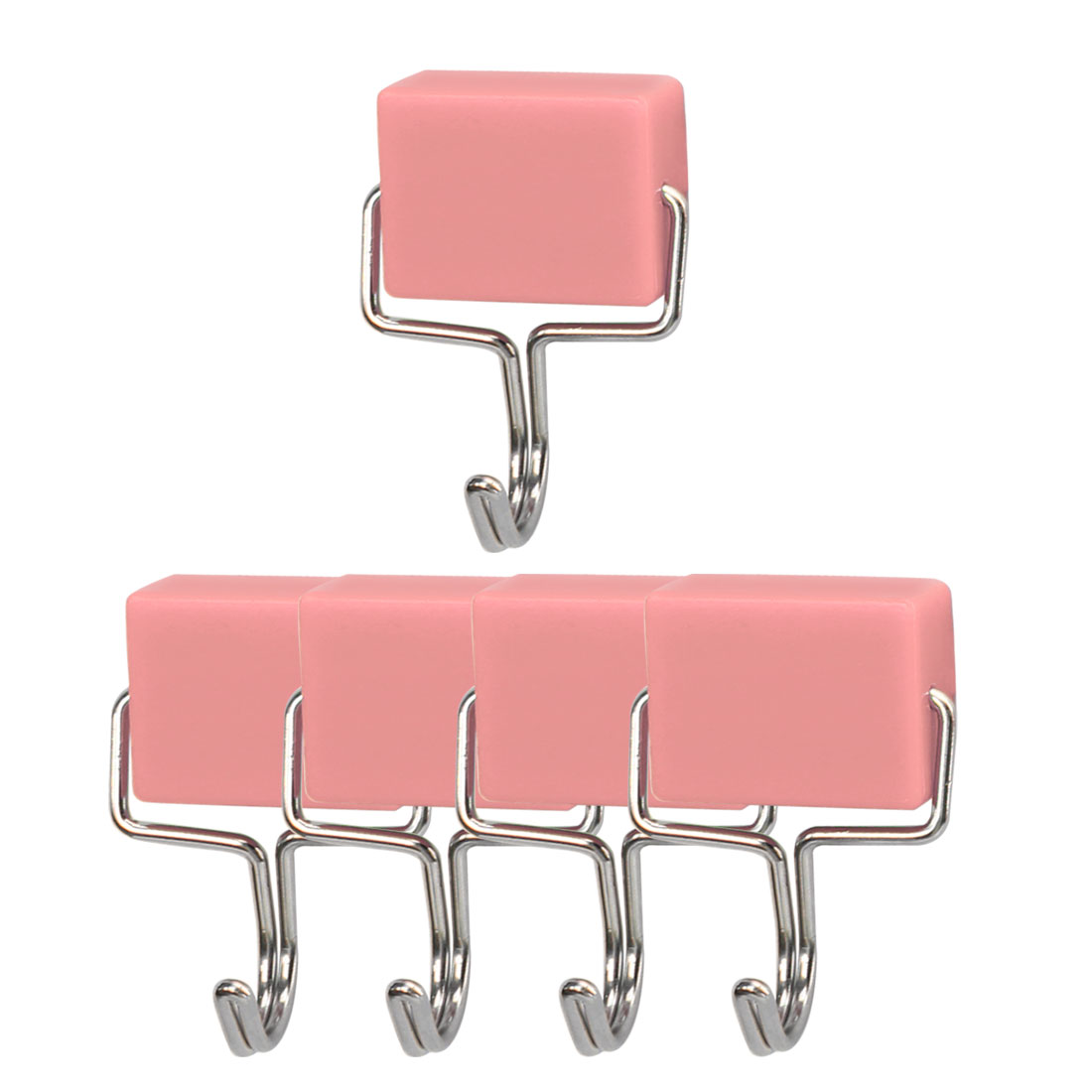 5pcs Magnetic Hook Stainless Steel Wall Hooks Hanger for Coat Hat Holder Pink