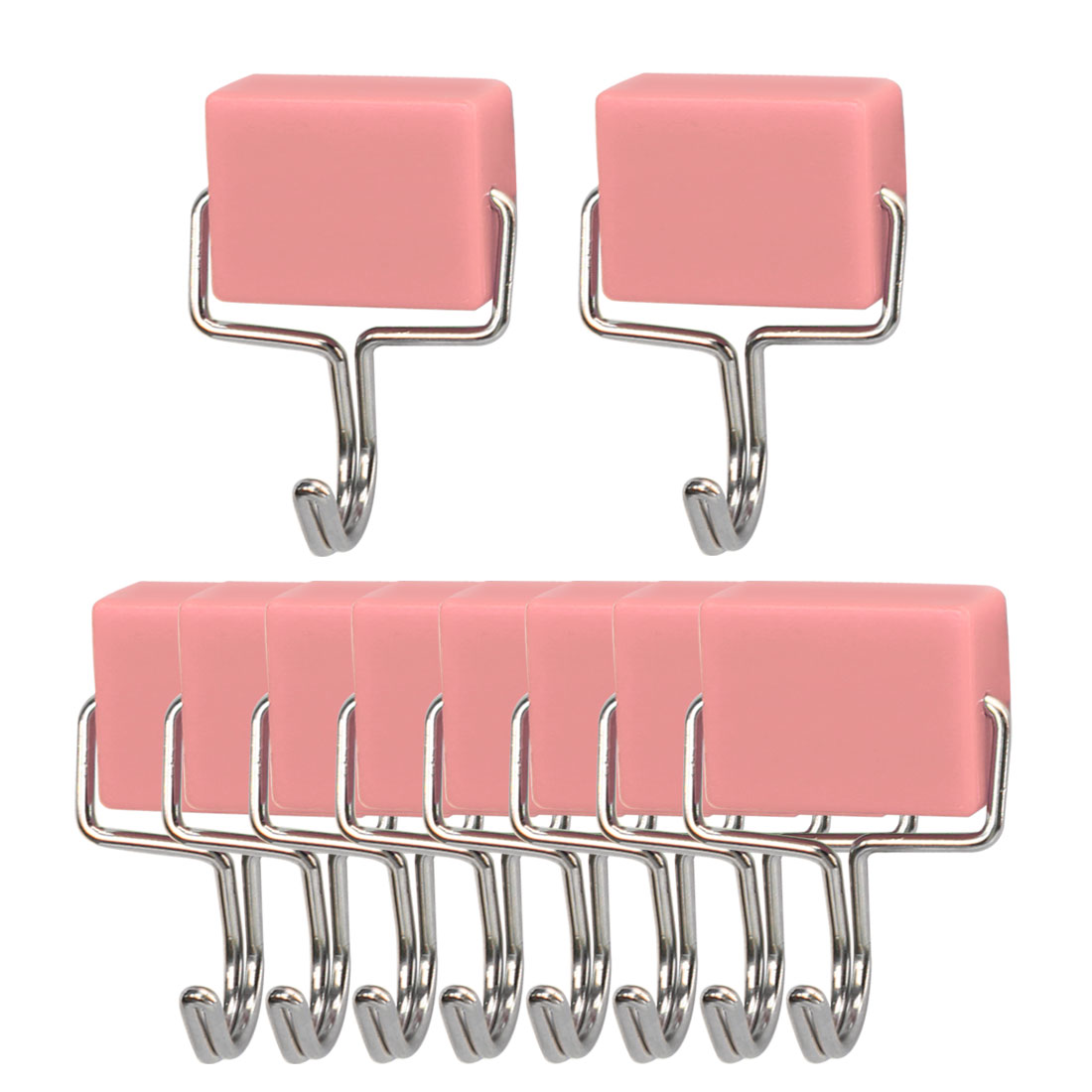 10pcs Magnetic Hook Wall Hooks Hanger for Kitchenware Coat Hat Holder Pink