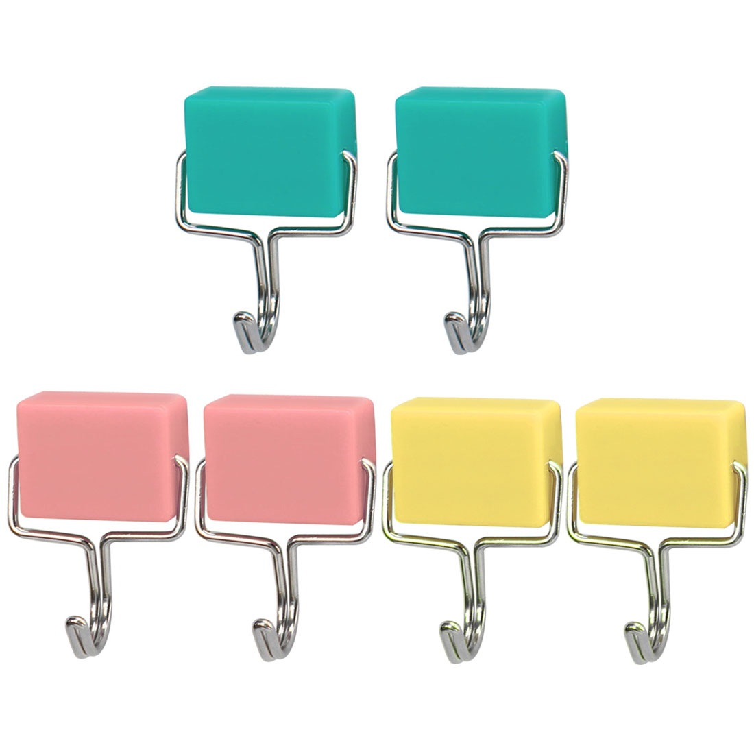 6pcs Magnetic Hook Towel Wall Hook for Coat Hat Holder Pink Yellow Green