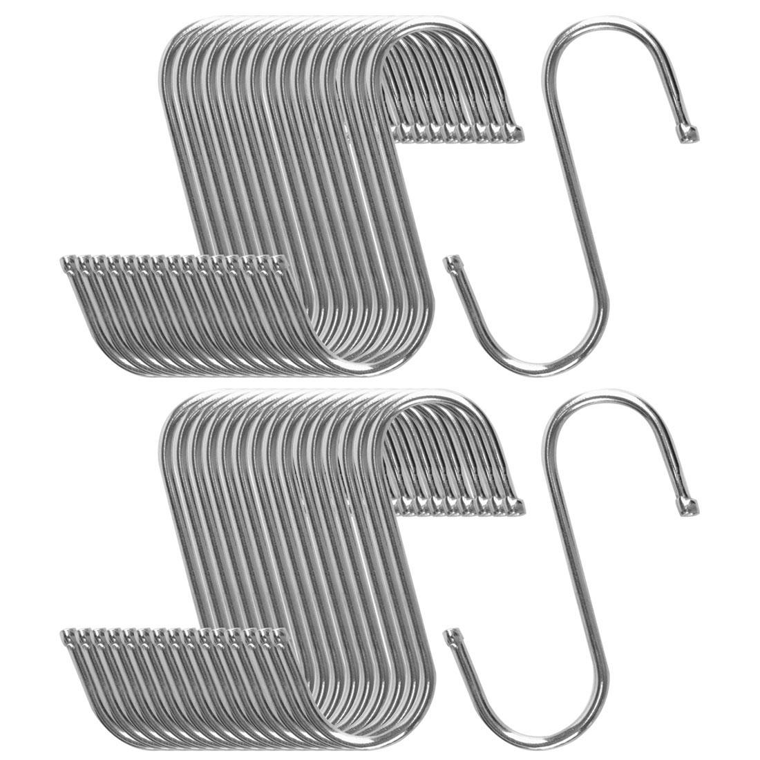 32pcs S Shaped Hook Stainless Steel for Kitchenware Hat Utensil Holder Rack